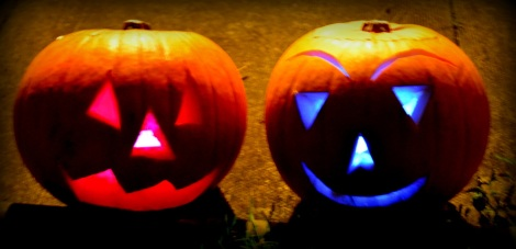 Pumpkins using glowsticks
