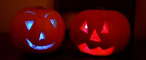 pumpkins using glowsticks