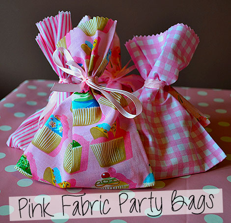 Pink Fabric Party Bags